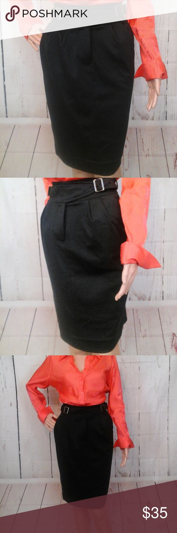 """Anthropologie Maeve Blk Cinched Ponte Pencil Skirt New with Tags Size 4  Waist= 14"""" (hip to hip - across the front) Length = 24"""" (waist to hem) Material: Polyester (74%) Rayon (23%) Spandex (3%) Features:  Zip front with a cinched waist belt  No trades or modeling of clothing, jewelry, shoes or accessories.  If additional measurements are required to ensure the perfect fit for you, I will gladly provide them. All items are from a smoke-free/pet-free home. Anthropologie Maeve Skirts"""