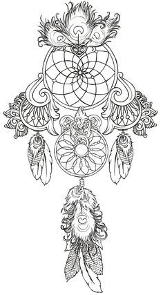 Coloriage adulte - Dream catcher images for cards