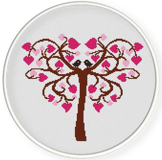INSTANT DOWNLOAD,Free shippingCounted Cross stitch pattern,Cross-Stitch PDF,Love tree,love birds,valentine's day,wedding gift, zxxc0504
