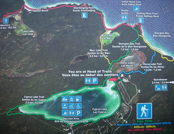 Bruce Peninsula National Park Trails map