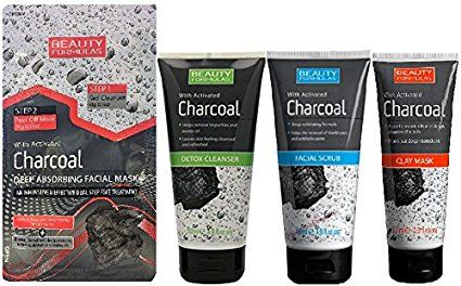 Beauty Formulas Charcoal 4PC Set - Detox Cleanser, Facial Scrub, Clay Mask, Peel Off Mask