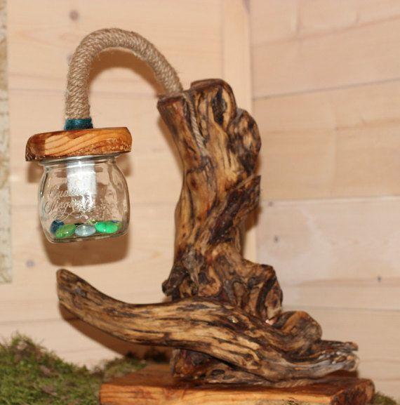 lampada legno mare driftwood lamp corda wood E14 di GnomoWood