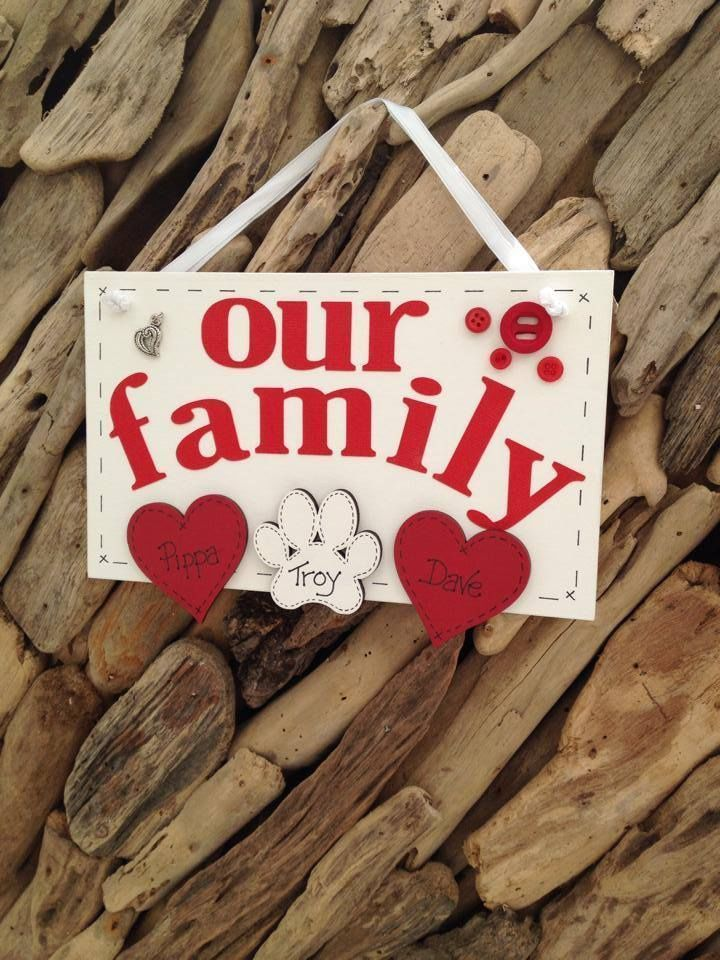 Our Family Handmade Personalised Hearts or Paws Cats Dogs Plaque