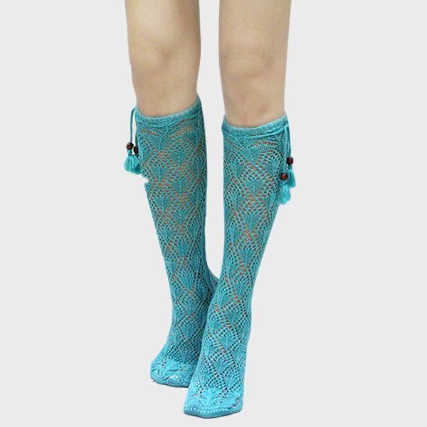 Crochet Boot Socks in Blue Teal on Emma Stine Limited