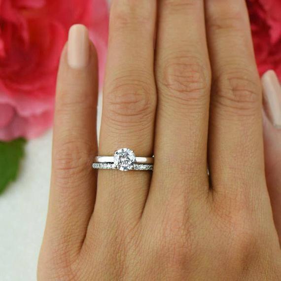 1 Ct Round Bridal Set Solitaire Ring Half Eternity Band Etsy Morganite Engagement Ring Set Morganite Wedding Rings Round Solitaire Engagement Ring