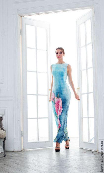 Тонкое валяное платье Пион - голубой,цветочный,Мокрое валяние,валяная одежда