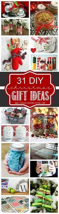 31 DIY Christmas Gift Ideas on Frugal Coupon Living. Homemade Christmas Gift Ideas. DIY Gifts for the Christmas and Holiday Season.