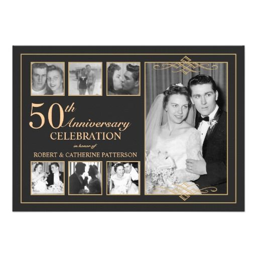Classic Gold & Black Photo Wedding Anniversary Personalized Announcements.  $1.90