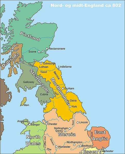 Map of Northumbria and Strahclyde in 802.