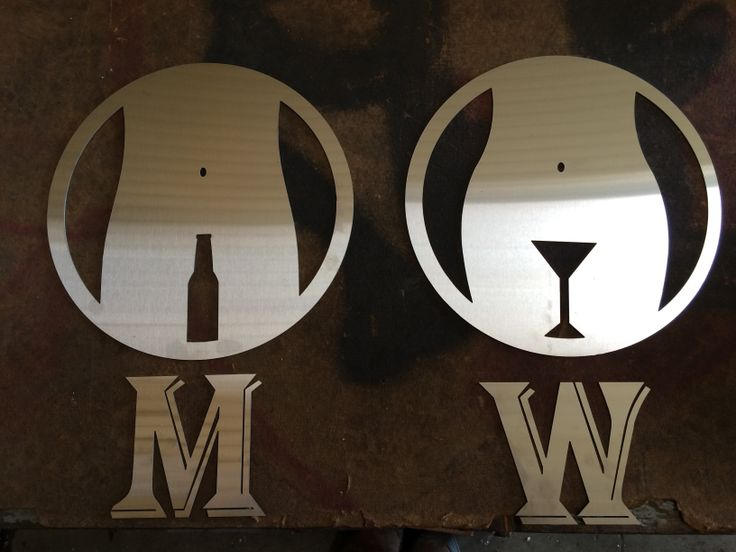 mens and womans restroom signs waterjet cut at fenixx technologies cut from 20 gage stainless