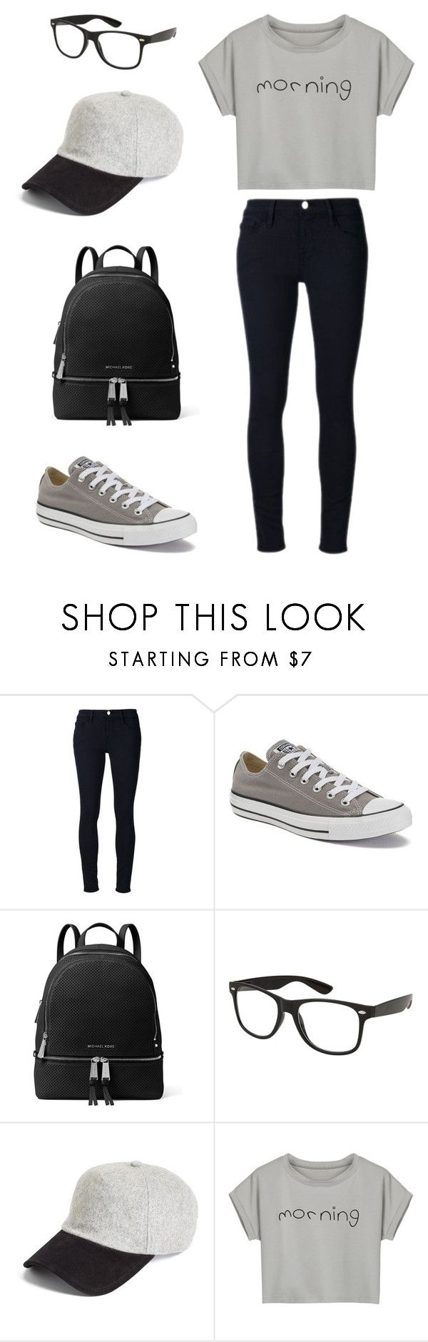 """""""School outfit"""" by sarahaider ❤ liked on Polyvore featuring Frame, Converse, MICHAEL Michael Kors, rag & bone and WithChic"""