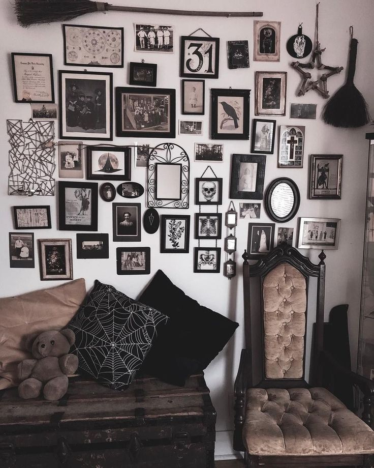 Goth Gallery Wall Halloween Living Room Gothic Living Rooms Goth Home Decor