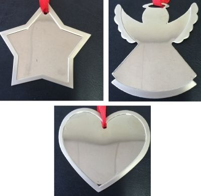 Christmas Ornament - Stylish, flat and highly polished, these Christmas Tree decorations are lovely just as they are, or ask your giddy aunts to hand engrave a name, date or short message to create a Christmas Keepsake that will be treasured year after year after year.