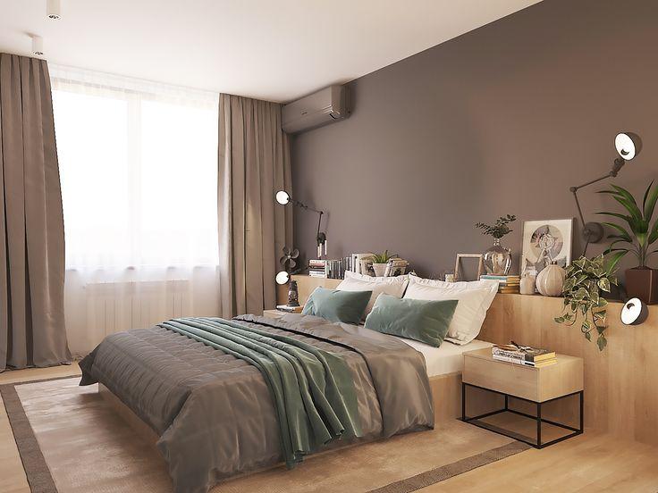 Спальня в темных цветах, минимализм, лаконичный интерьер