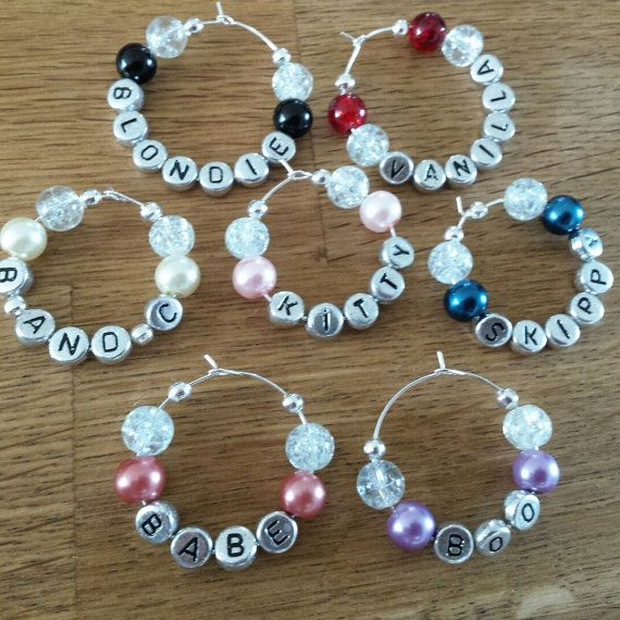 Check out this item in my Etsy shop https://www.etsy.com/uk/listing/245036349/personlised-wine-glass-charms-hen-night