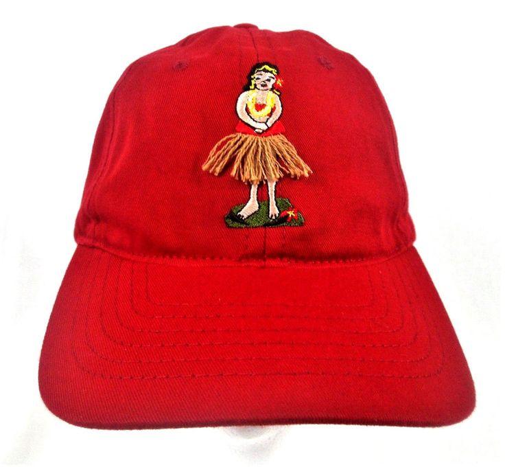 MAUI JIM Sunglasses HULA GIRL HAT Adult Adjustable Hawaii Beach Red Baseball CAP #MauiJim #BaseballCap