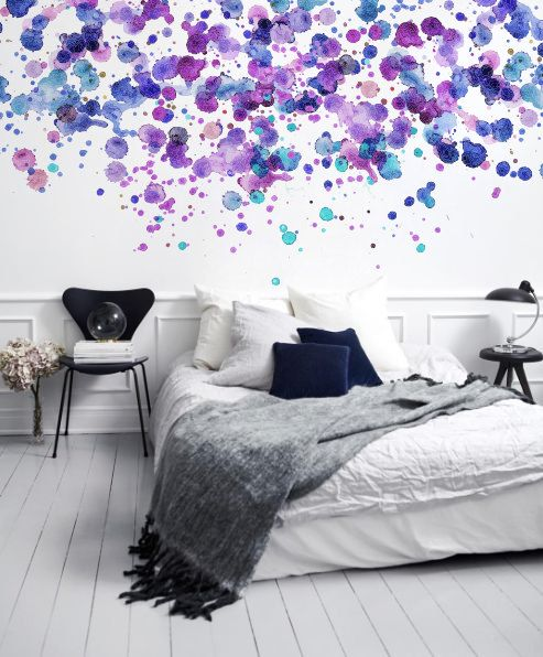 Purple Spots / Dots - Adhesive Wallpaper - Removable Wallpaper - Wall Sticker - Wall Mural - Customizable Wallpaper - Watercolor