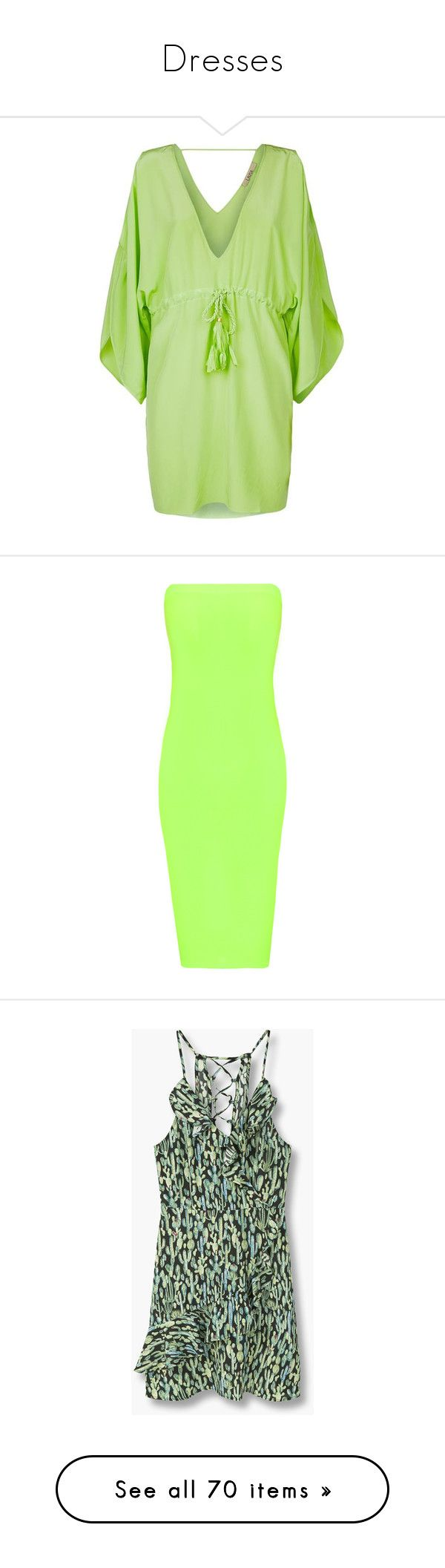 """Dresses"" by skinny-jeannie ❤ liked on Polyvore featuring dresses, open shoulder dress, special occasion dresses, cut-out shoulder dresses, holiday dresses, green cocktail dress, fluorescent green, sleeveless midi dress, neon green dress and bandeau midi dress"