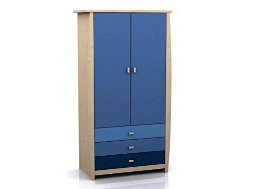 Sydney 2 Door 3 Drawer Wardrobe - Pink or Blue Childrens Furniture (Blue)