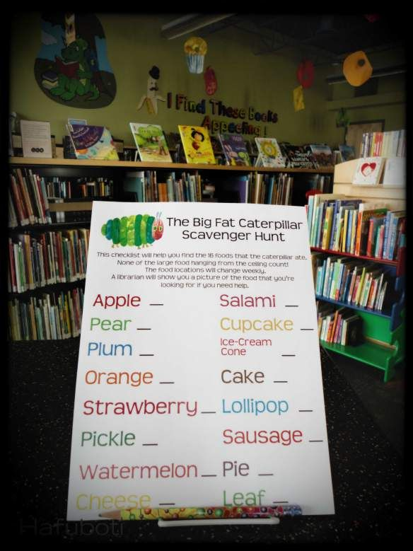 The Very Hungry Caterpillar decor at the Children's Library. A passive scavenger hunt for the nommed-on food. | Hafuboti.com