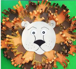 handprint lion bulletin board idea for kids