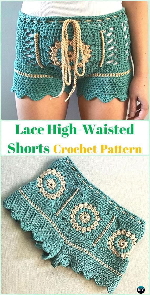 Crochet Lace High-Waisted Shorts Paid Pattern - Crochet Summer Shorts & Pants Free Patterns