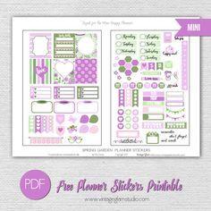 Free Printable Mini Happy Planner Spring Garden Planner Stickers from Vintage Glam Studio
