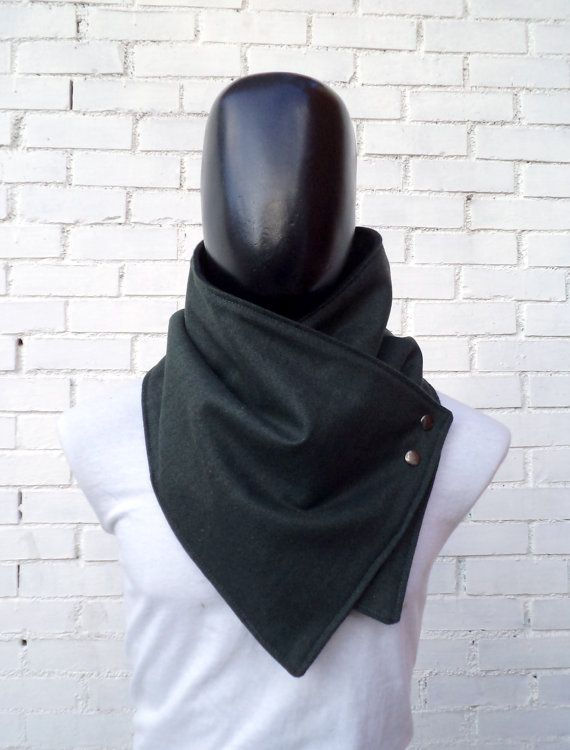 Men scarf. Men cowlWide Green forest wool with by CheriDemeter, $32.50
