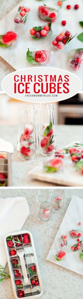 Merry and Bright Christmas Ice Cubes + Ultimate Holiday Cheese Board - Fresh Mommy Blog : Create the perfect holiday decor for your drinks with these infused ice cubes by adding bits of red and green, like cranberry, raspberry and more!