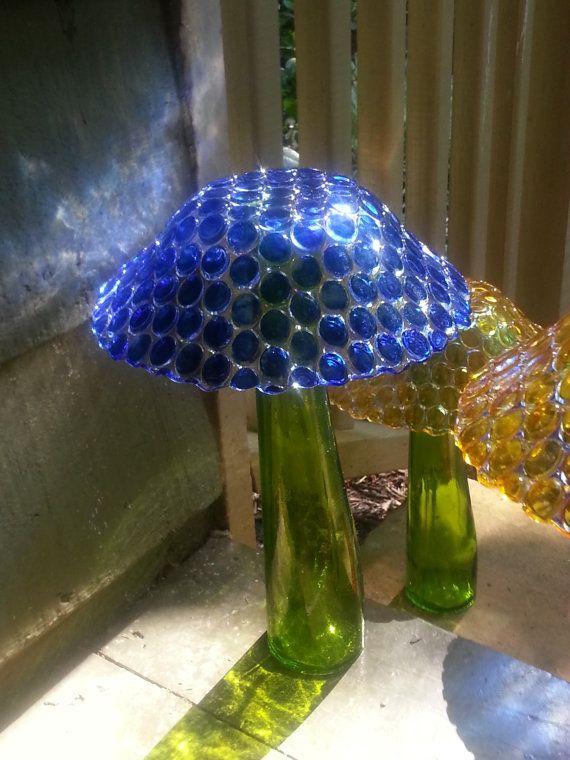 Glass Garden Mushroom 'Blue' by GardenArtistGa on Etsy, $22.50