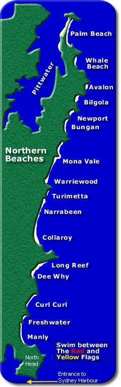 Sydney Northern Beaches map / The entrance to Port Jackson (Sydney Harbour) is at the bottom of the map below North Head