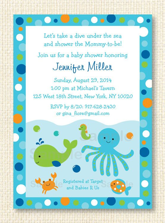 Blue Under The Sea Baby Shower Invitation By LittlePrintsParties, $12.00