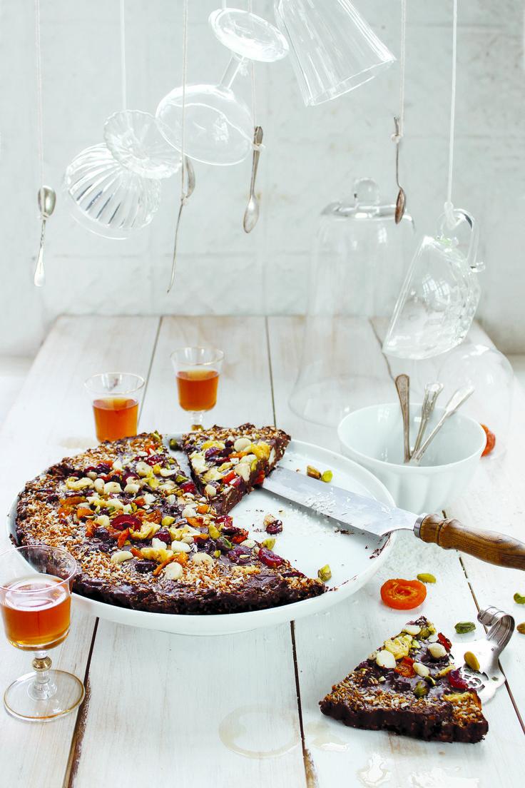 Chocolate, fruit ad coconut tart