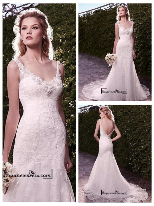 Amazing Tulle & Satin Mermaid V-neck Neckline Wedding Dress With Appliques and Beadings