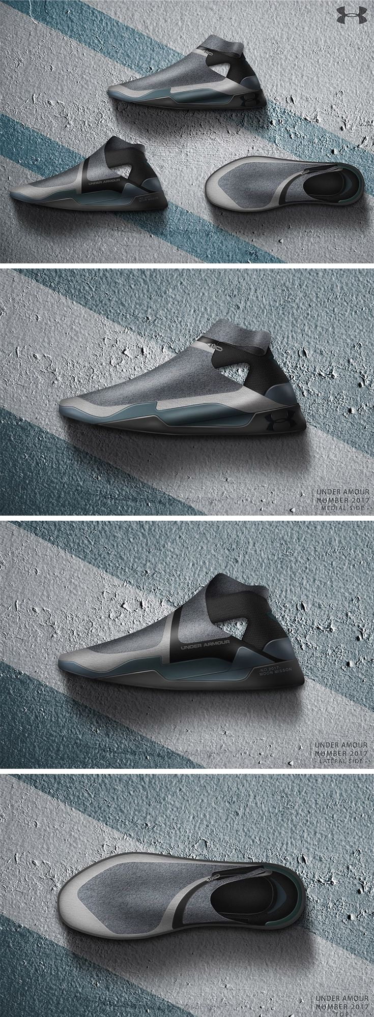 The Under Armour No.2017 Moon Mission is a far-out fashion exploration by designer Wu Cheng-En. The shoe's streamlined silhouette takes inspiration from the lines and shapes found in aircraft and spacecraft, applying the functional styling to the form and material contrasts of the shoe. It also expresses the wing structure with familiar details found on the midsole and outsole sections.