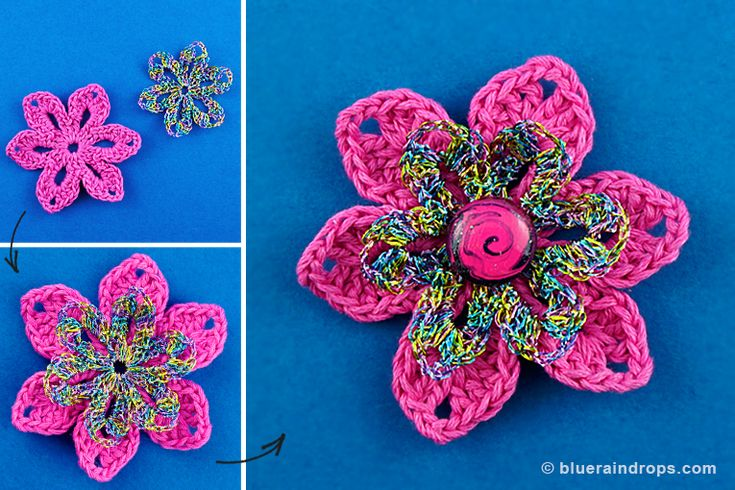 Crochet this easy flower. Find free tutorial here.