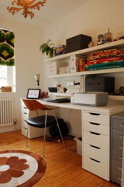 Ikea desk & open shelving, cute office.