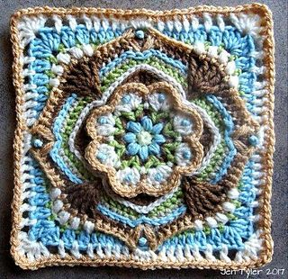 A decorative floral Block to use anywhere you fancy, a cushion cover component, a central square in an afghan design, or join two squares and add a shoulder strap and you have a perfect little sling bag!The colour palette is inspired by my recent road trip to a very beautiful and quaint village called De Rust ( meaning: The Rest ) in the semi-desert Karoo, in South Africa. We were fortunate to witness a rare thunderstorm and watch the parched earth come alive before our eyes.