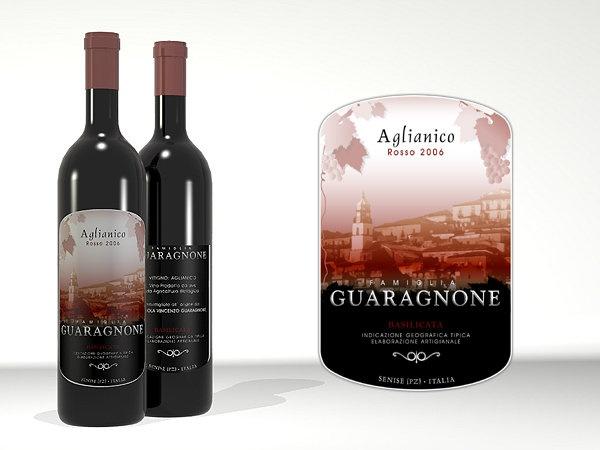 Etiqueta para Famiglia Guaragnone, vinos del sur de Italia