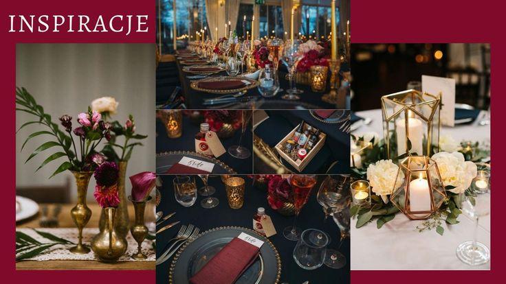 Wedding Decoration Dekoracje Na Slub I Wesele Diy Zloto Czerwien Swiece Kwiaty Flowers Candle Table Decorations Decor Table Settings