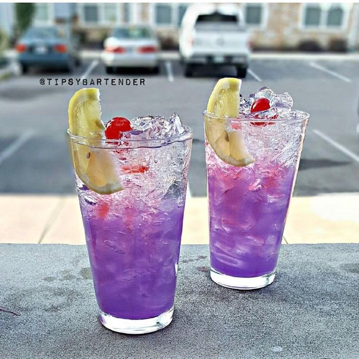 PURPLE HAZE LEMONADE Vodka Bacardi Rum Gin Patron Tequila Blue Curacao Cranberry Juice Lemonade Top with Sprite Lemon wedge and cherry garnish Instagram photo credit: @pookie_mixinitup Post your original recipe and photo on Instagram using...