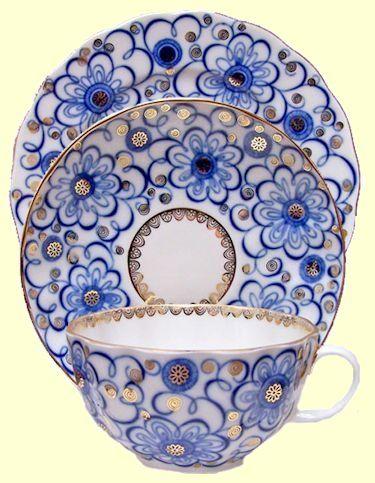Lomonosov Russian Porcelain Cornflower Trio Tea Cups and Saucer with 7-inch                     Dessert Plate