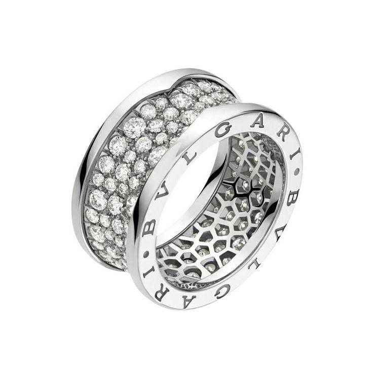 bvlgari pink gold ring with pav diamonds