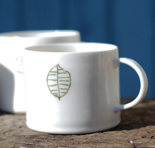#porcelain cup #Olive #Leaf design. www.inkclay.com