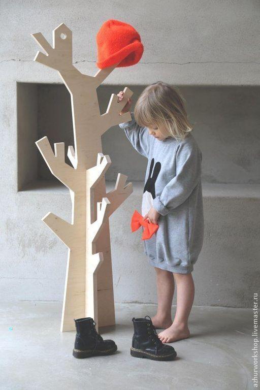 Купить Детское декоративное дерево-вешалка - бежевый, дерево, дерево для украшений, полка, полка из дерева