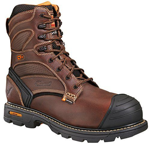 Thorogood Mens Genflex Brown Leather Safety Toe Boots 8in WP Insulated 9.5 M - http://authenticboots.com/thorogood-mens-genflex-brown-leather-safety-toe-boots-8in-wp-insulated-9-5-m/