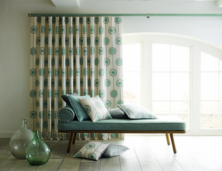Sanderson | Fabric 'Tambourine' | Walcot House 'wrapped & tracked 50mm curtain pole | contemporary living | blue green interior