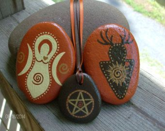 Autumn/Fall/Mabon God, Goddess and Reversible Pendant Pentacle/Pumpkins Stone Set with Brown Swirl Fabric Storage Bag