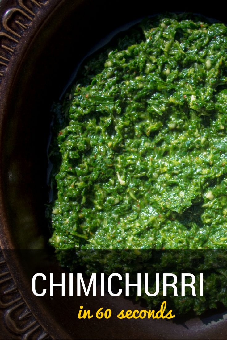 This easy chimichurri recipe is takes less than a minute to make and is great as a sauce with barbecued meat or with choripan, a traditional dish in Argentina which is a chorizo sausage on a bun. ~ http://www.baconismagic.ca