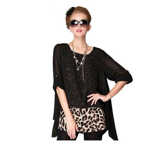 Camisa Blusinha leopardo Fashion Casual